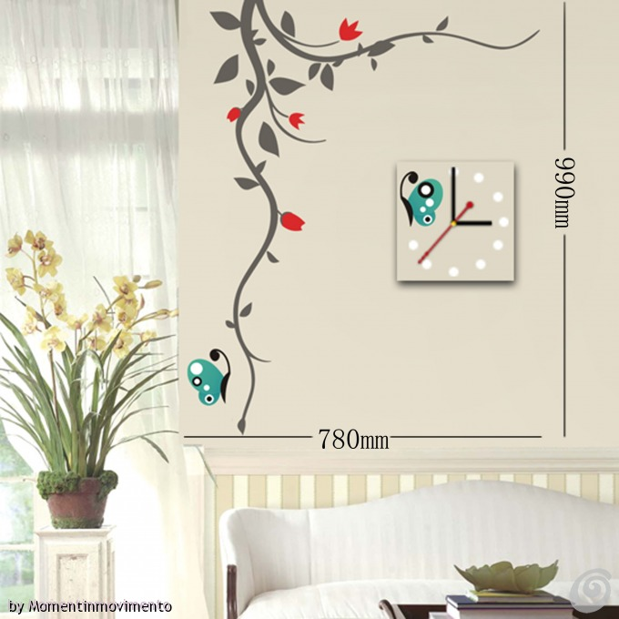 Idee arredo camera da letto le decorazioni adesive con orologio in coordinato di for Decorazioni pareti cucina