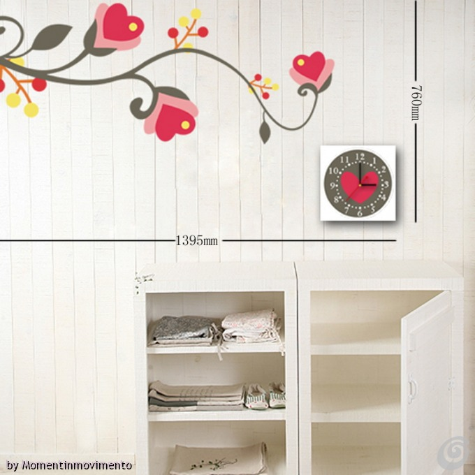 Idee arredo camera da letto le decorazioni adesive con orologio in coordinato di - Muri colorati camera da letto ...