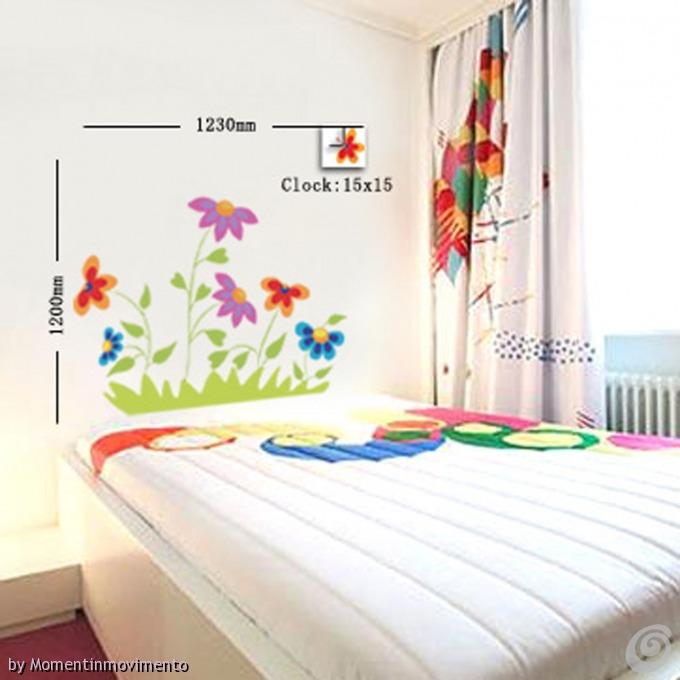 Idee arredo camerette orologi adesivi colorati per le - Tavole adesive 3d per pareti ...