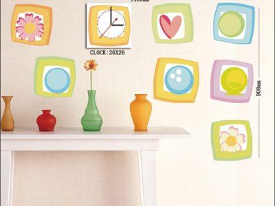 Decorazioni Adesive da parete con Orologio in coordinato