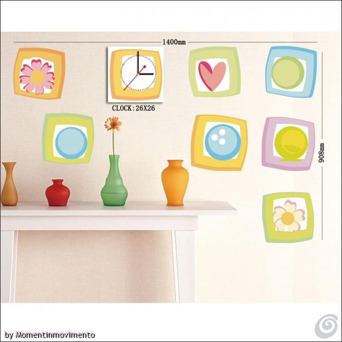 Idee arredo camerette orologi adesivi colorati per le for Bordure adesive per pareti