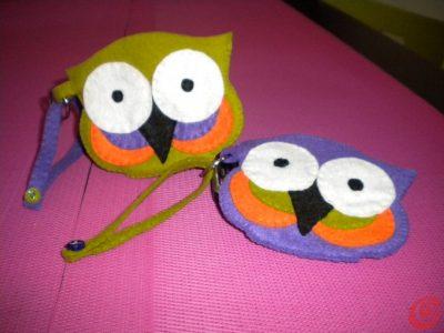borsettine in panno a forma di gufo