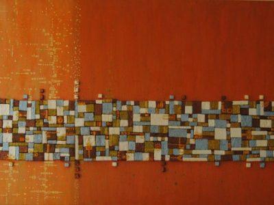 Mosaico realizzato con tessere di polistirolo tagliate ad incastro e dipinte una per una.