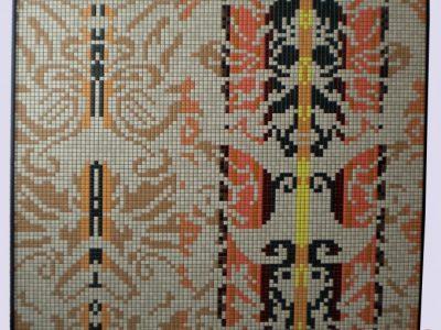 Quadro modello QUAD007 120x120cm struttura di legno Tasselli di ceramica